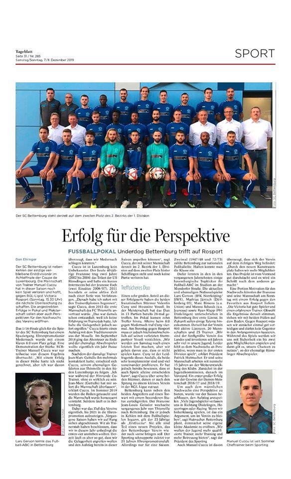 Erfolg für die Perspektive - Underdog Bettemburg trifft auf Rosport