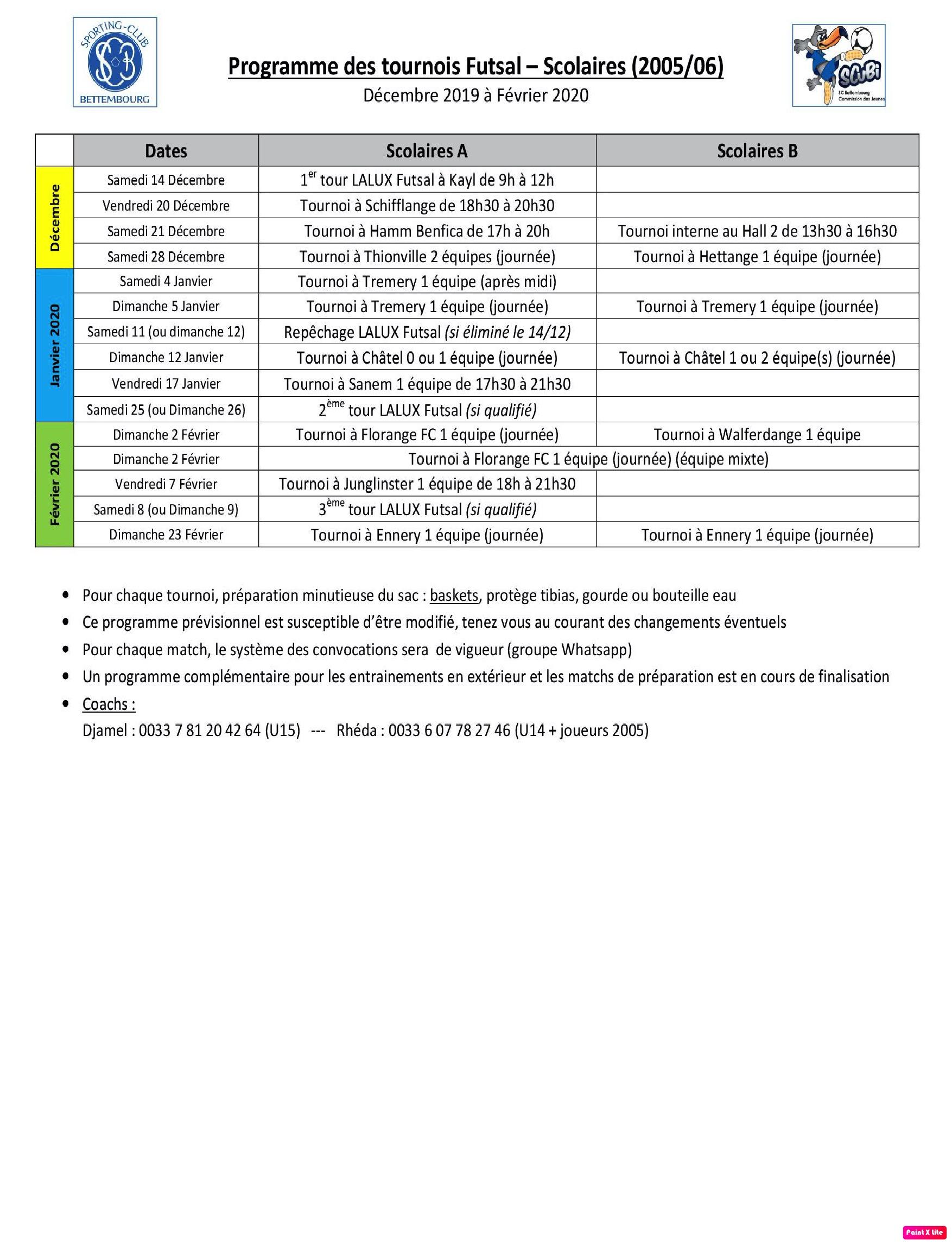 Programmes des tournois Futsal - Scolaires (2019-2020)