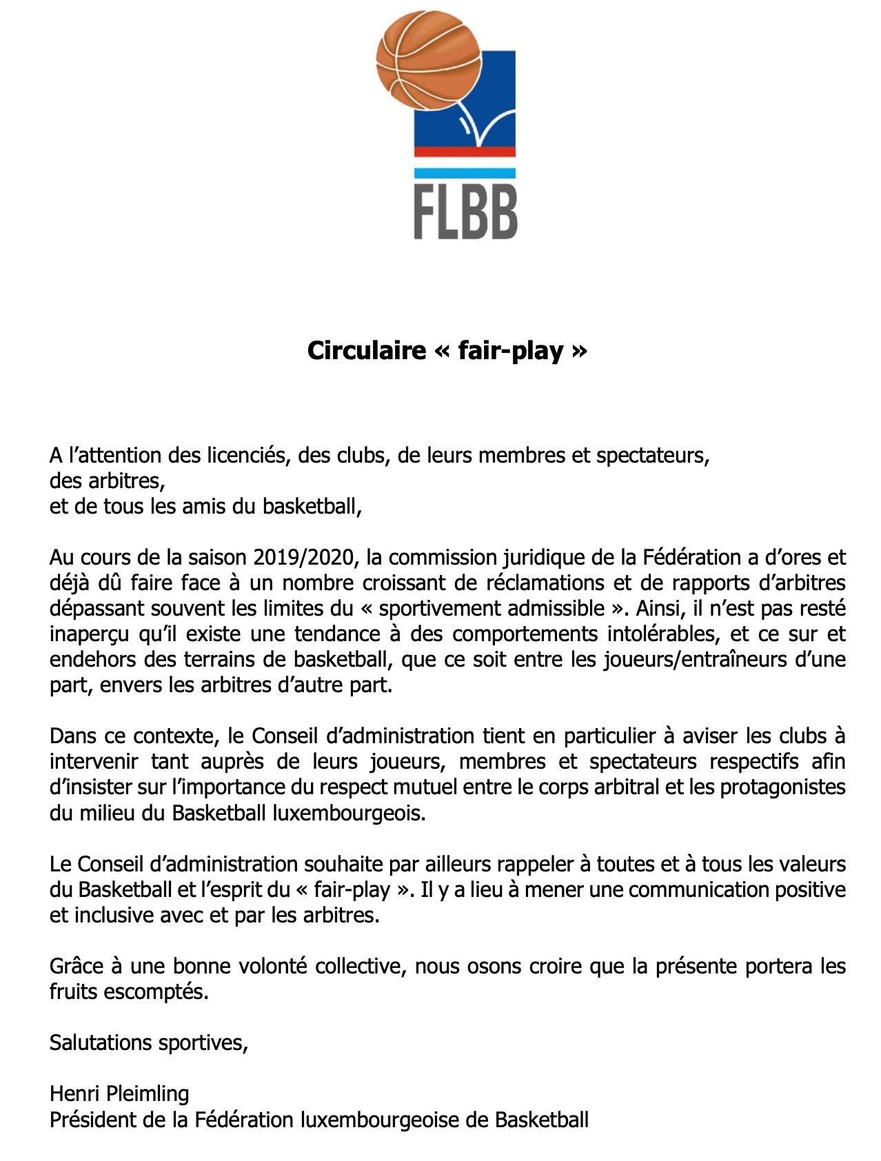 "Circulaire ""fair-play"""