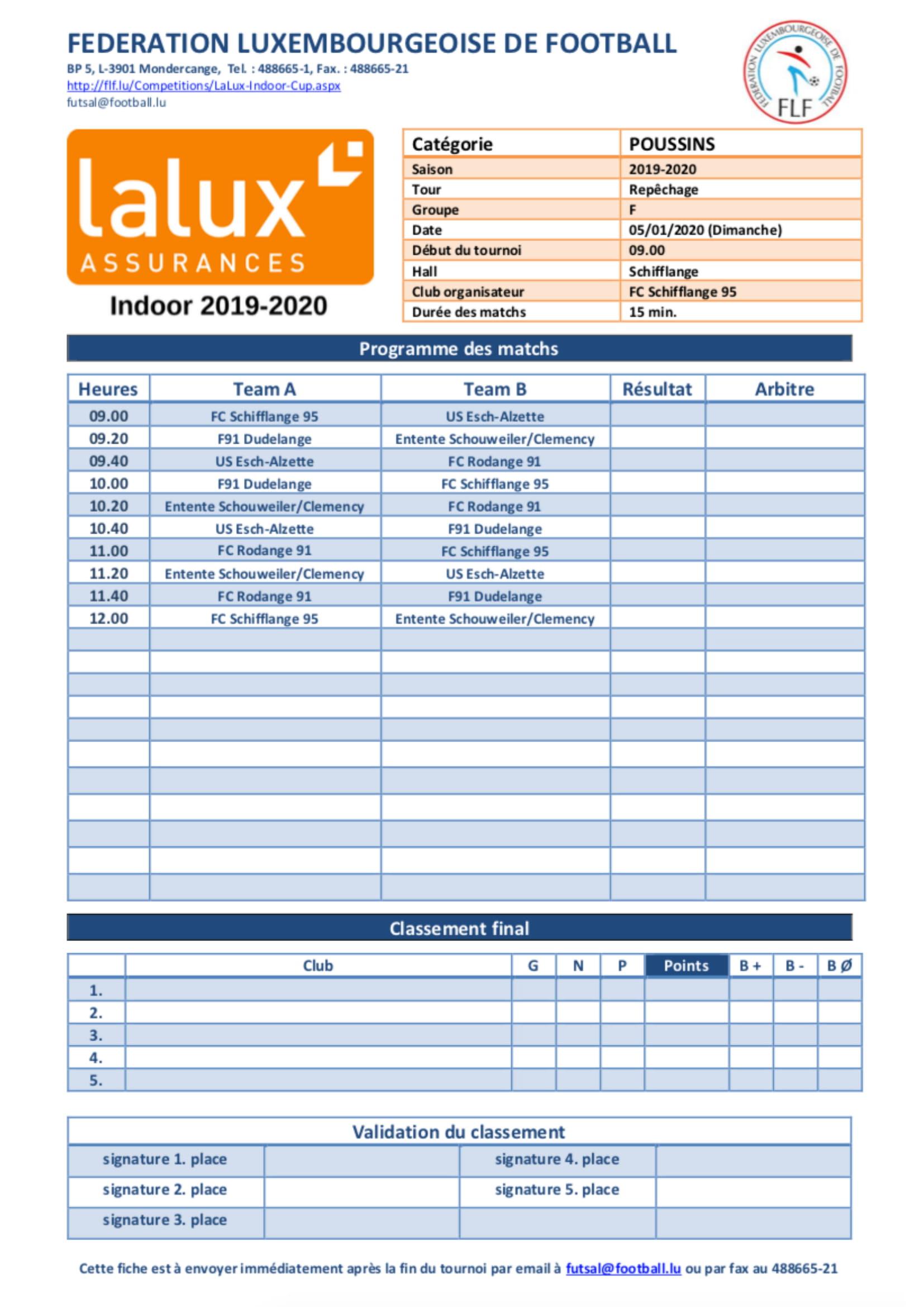 Repéchage LaLux Futsal Poussins & Scolaires