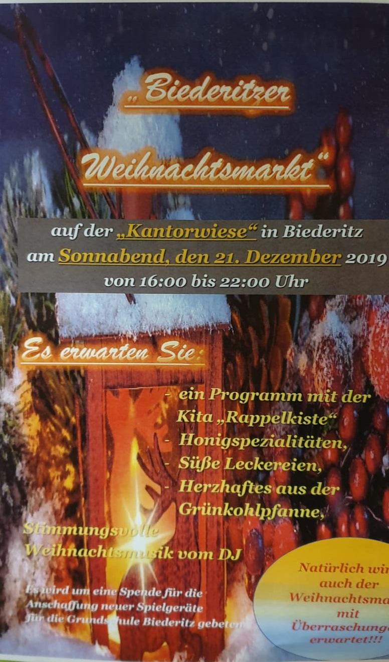 Weihnachtsmarkt in Biederitz am 21.12.2019 ab 15:00 Uhr