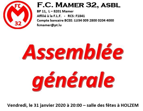 FC Mamer 32 asbl: ASSEMBLEE GENERALE, le 31 janvier 2020 à Holzem (20:00)