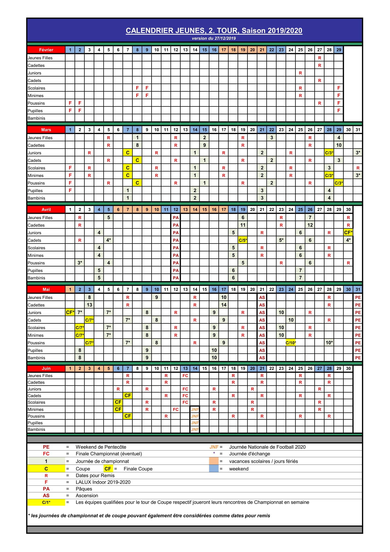calendrier jeunes 2 tour saison 2019/20