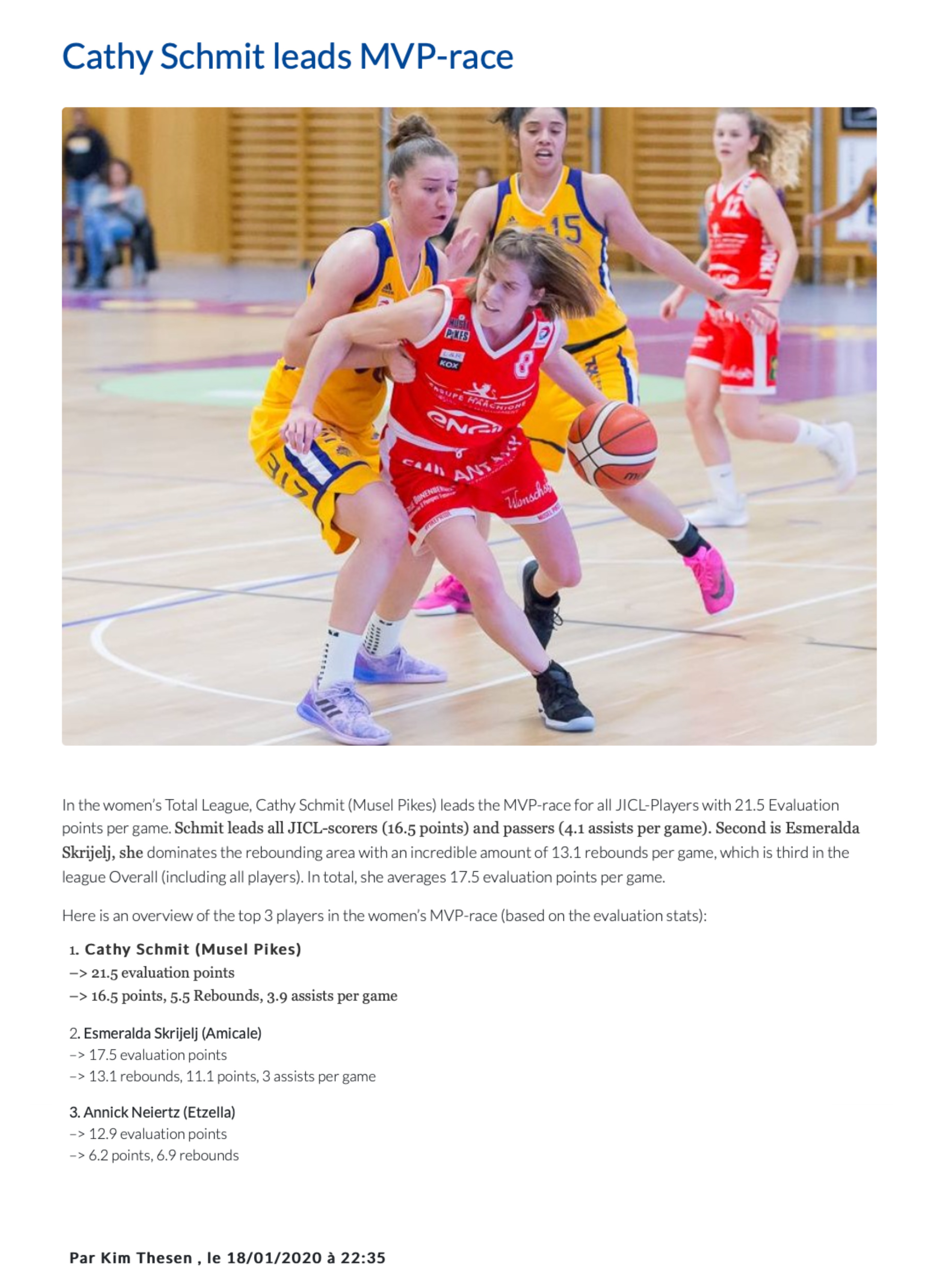 Cathy Schmit leads women MVP-race (source Luxembourg.basketball)