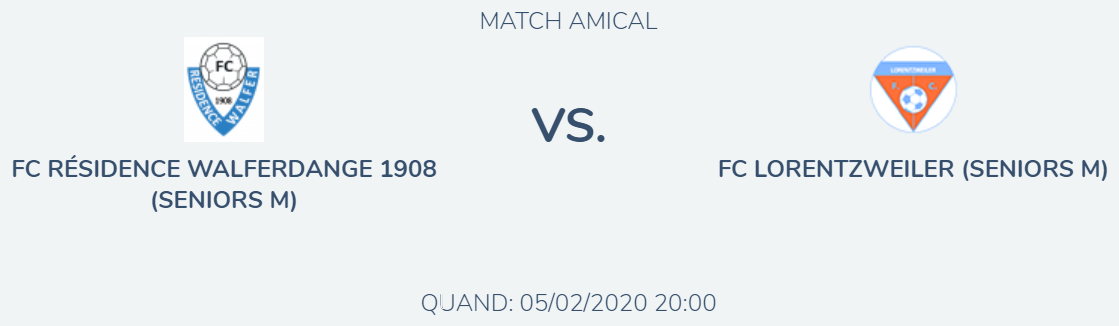 05/02/2020 20h - MATCH AMICAL à Walferdange (terrain synth.)