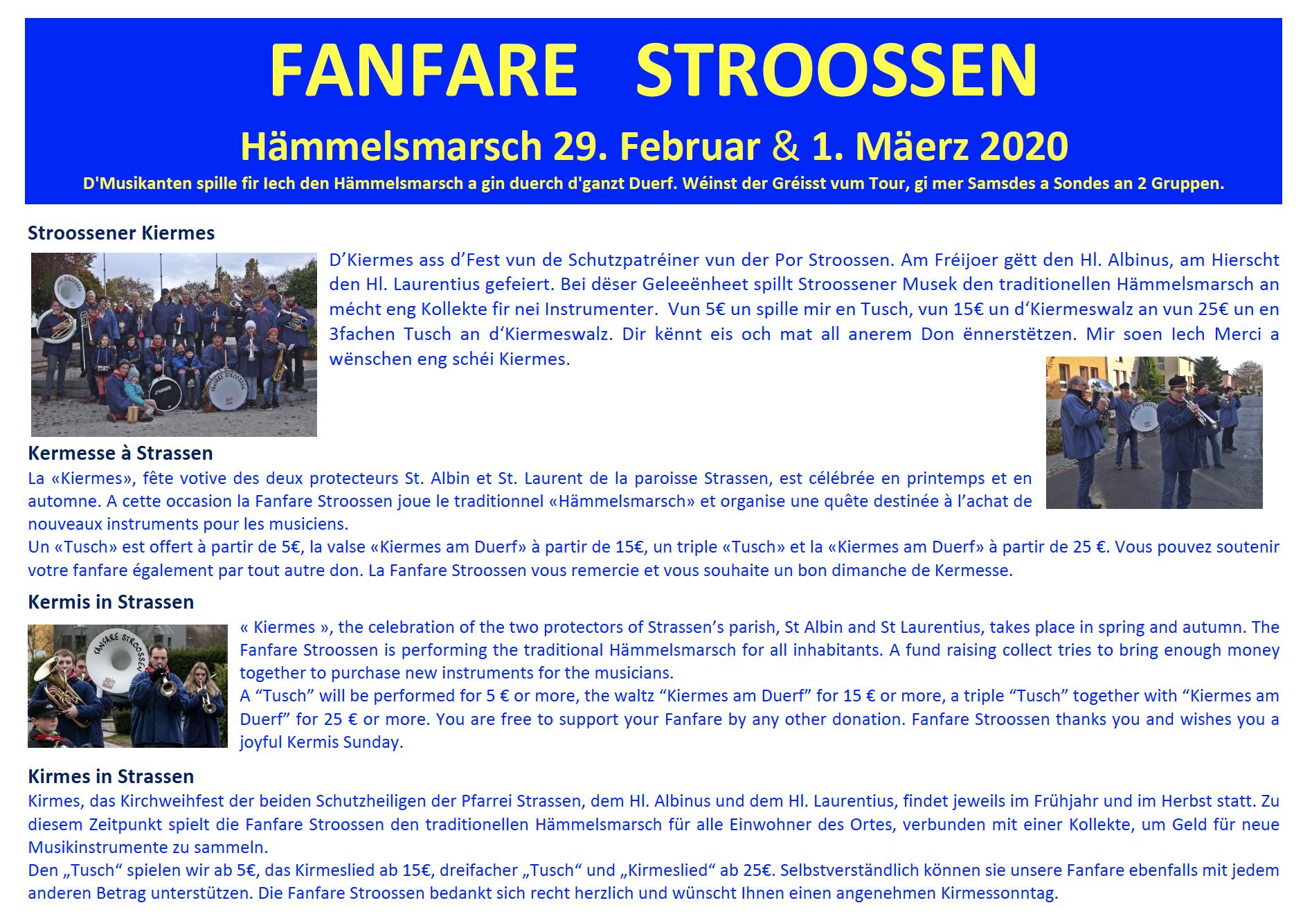 Hämmelsmarsch zu Stroossen 29. Februar & 1. Mäerz