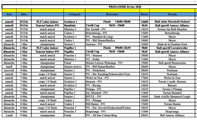 Programme février/mars 2020 + Programmes Finales LALUX Scolaires & Pupilles