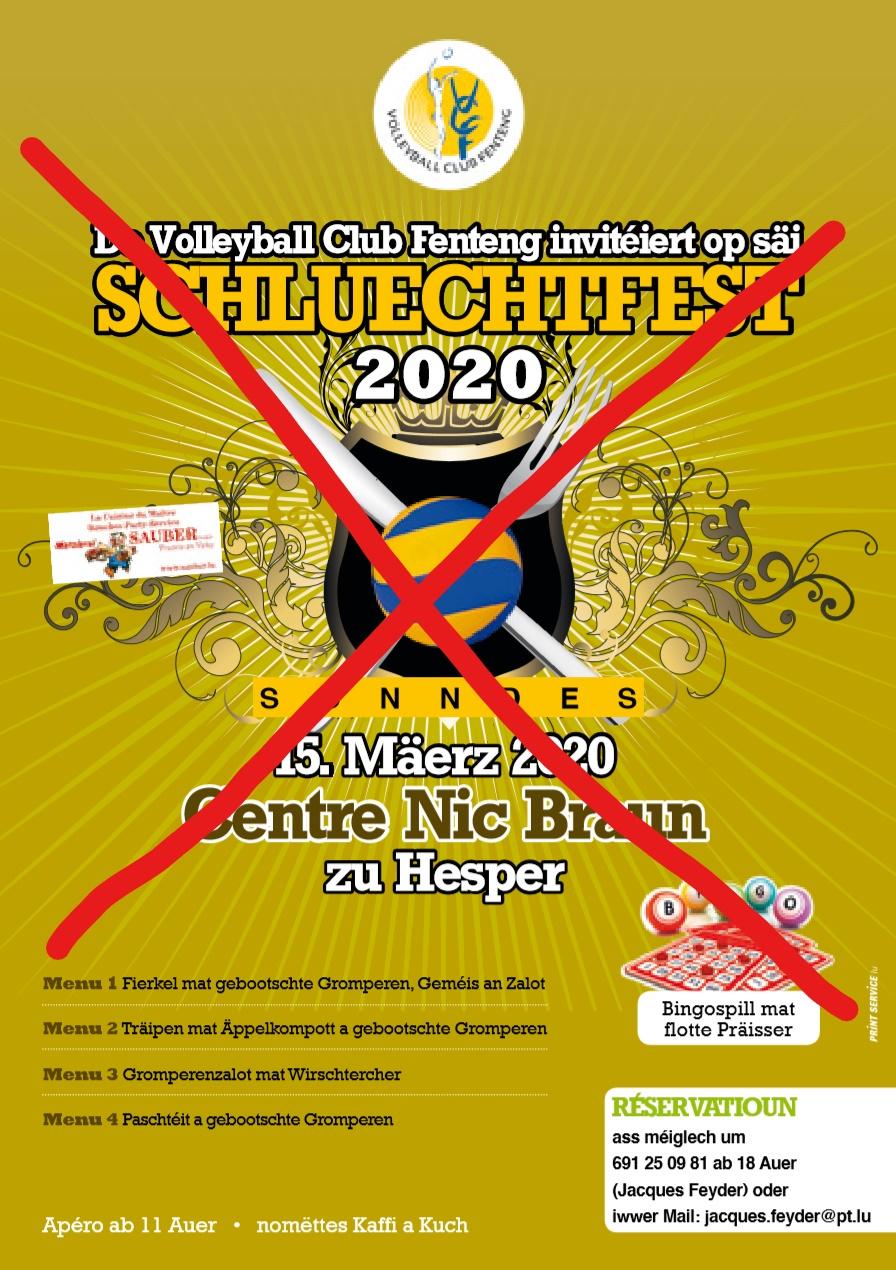 !!!ANNULLEIERT!!! - Schluechtfest vum Volleyball Club Fenteng den 15. Mäerz 2020 am Centre Nic Braun zu Hesper