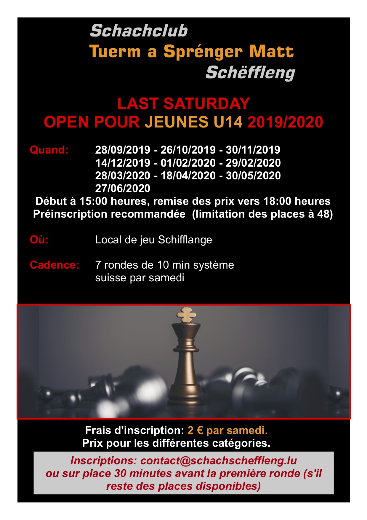 Chess results - Open Jeunes Schifflange 29 February 2020
