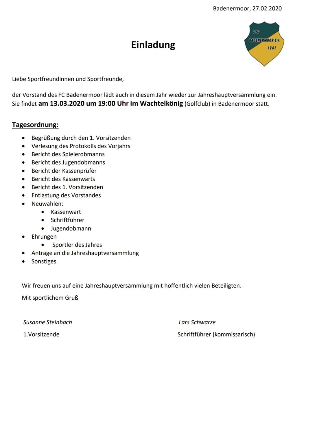 Jahreshauptversammlung 13.03.2020