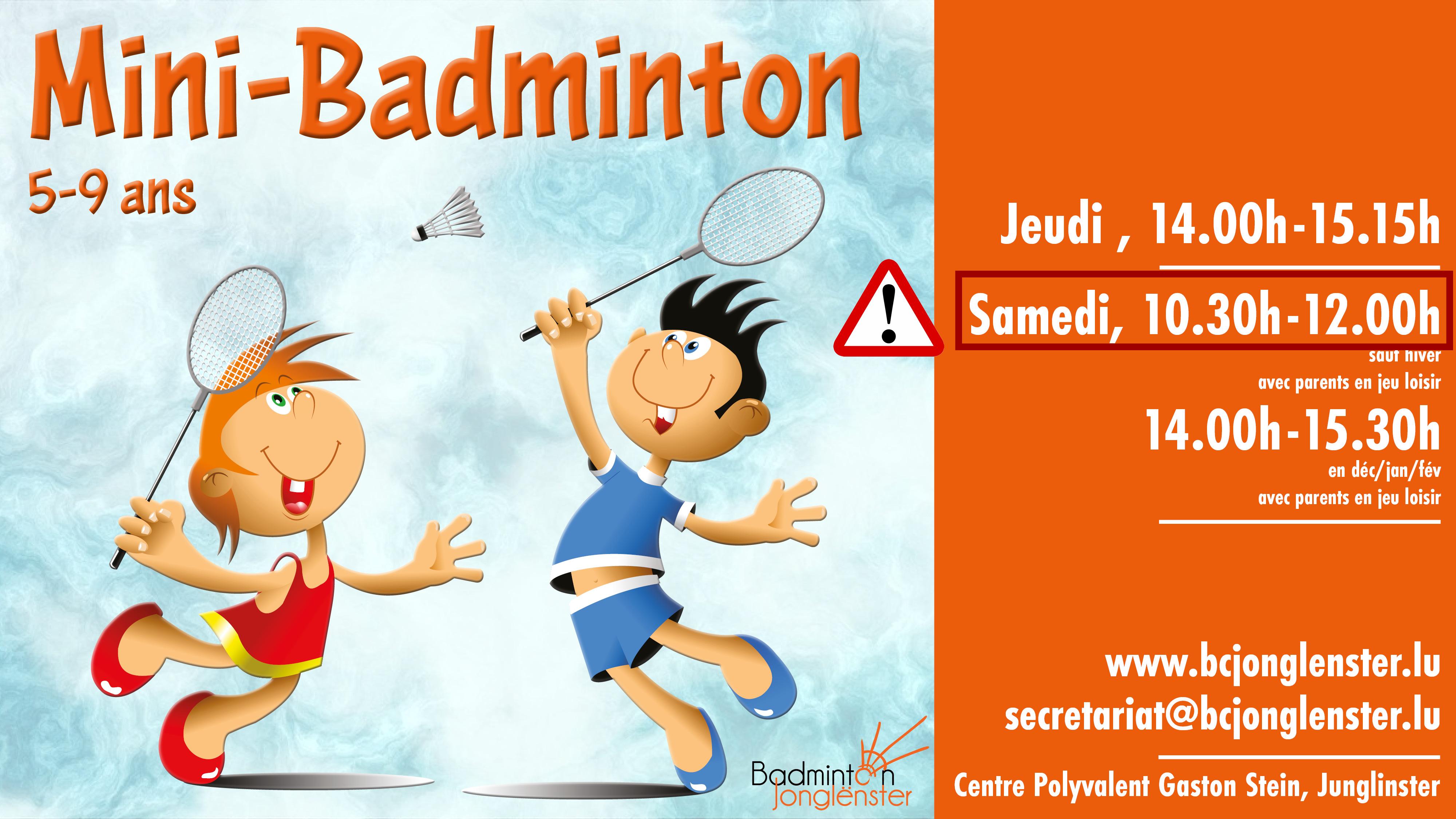 Horaire Mini-Badminton le samedi matin