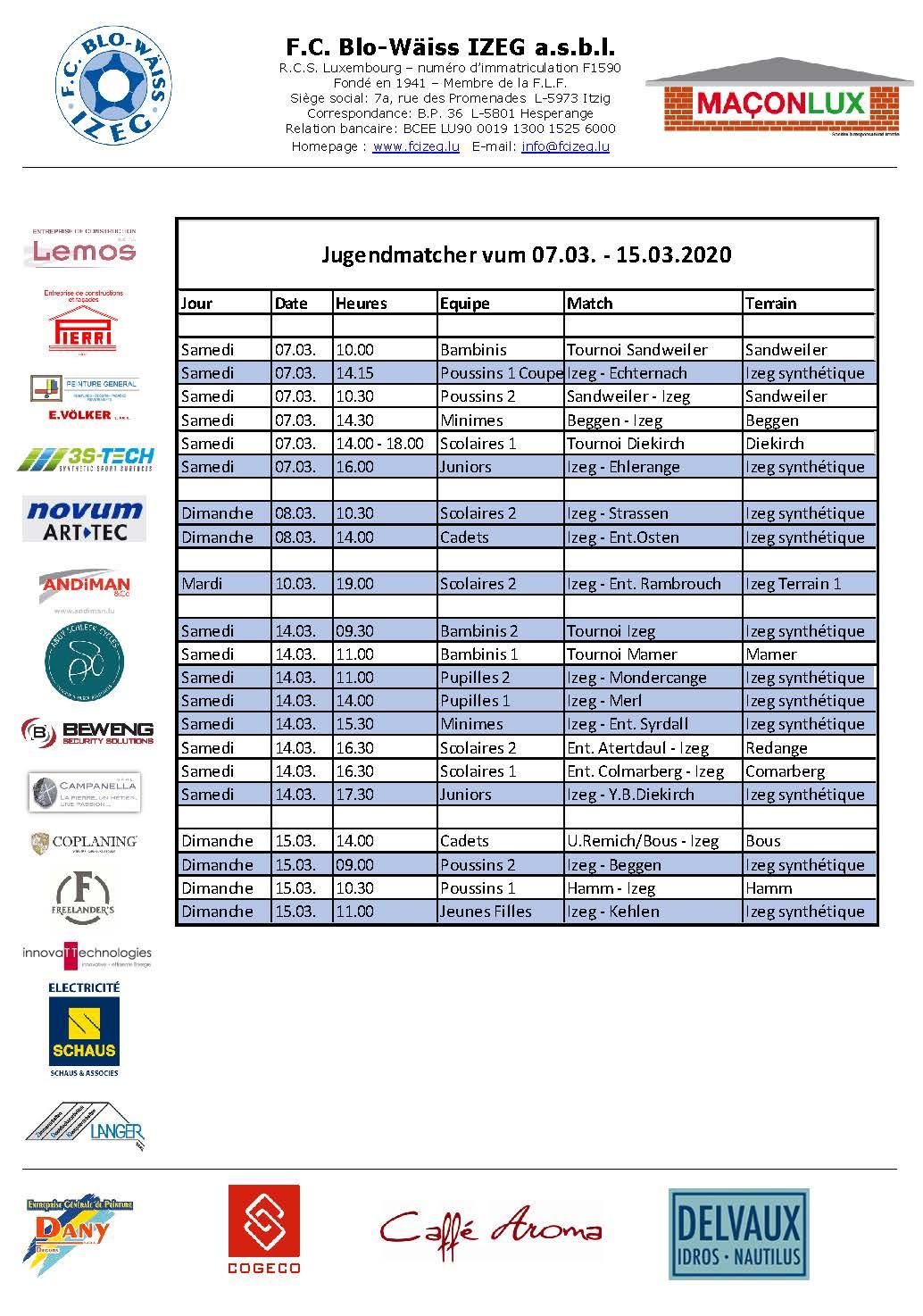 Jugendmatcher vum 07. bis 15. Mäerz