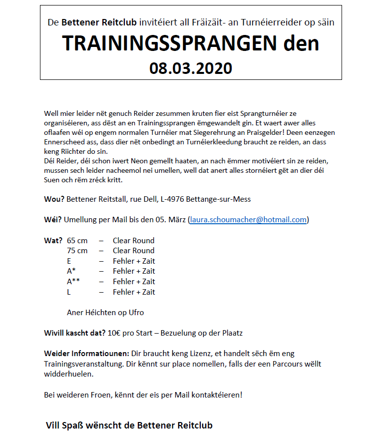 Trainingssprangen 08.03.2020