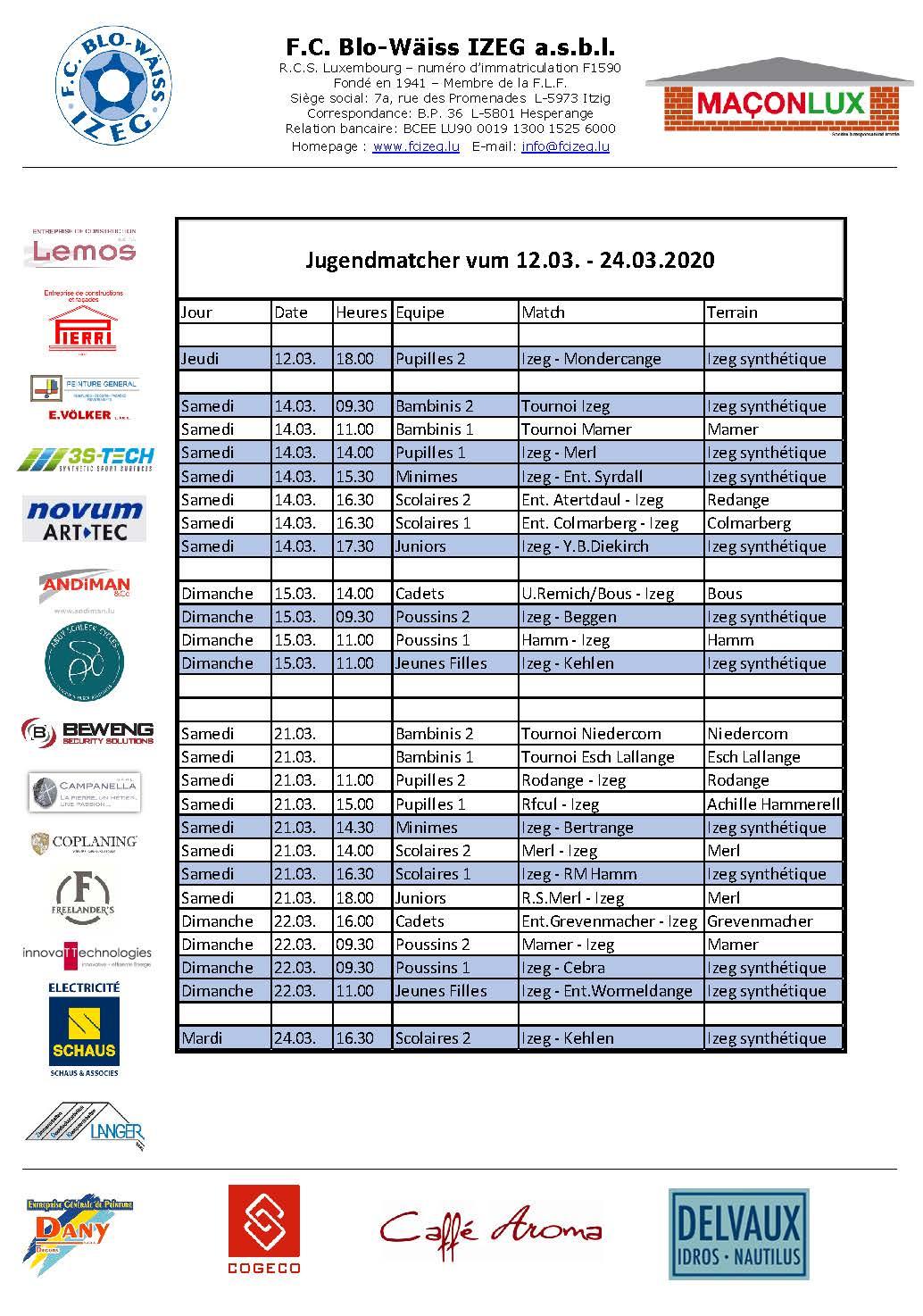 Jugendmatcher vum 12. bis 24. Mäerz