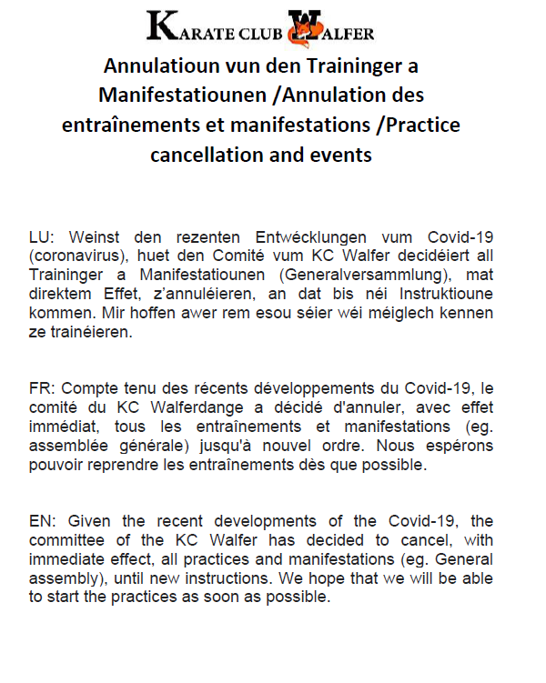 Annulation des entraînements et manifestations - Cancellation of all practices and events