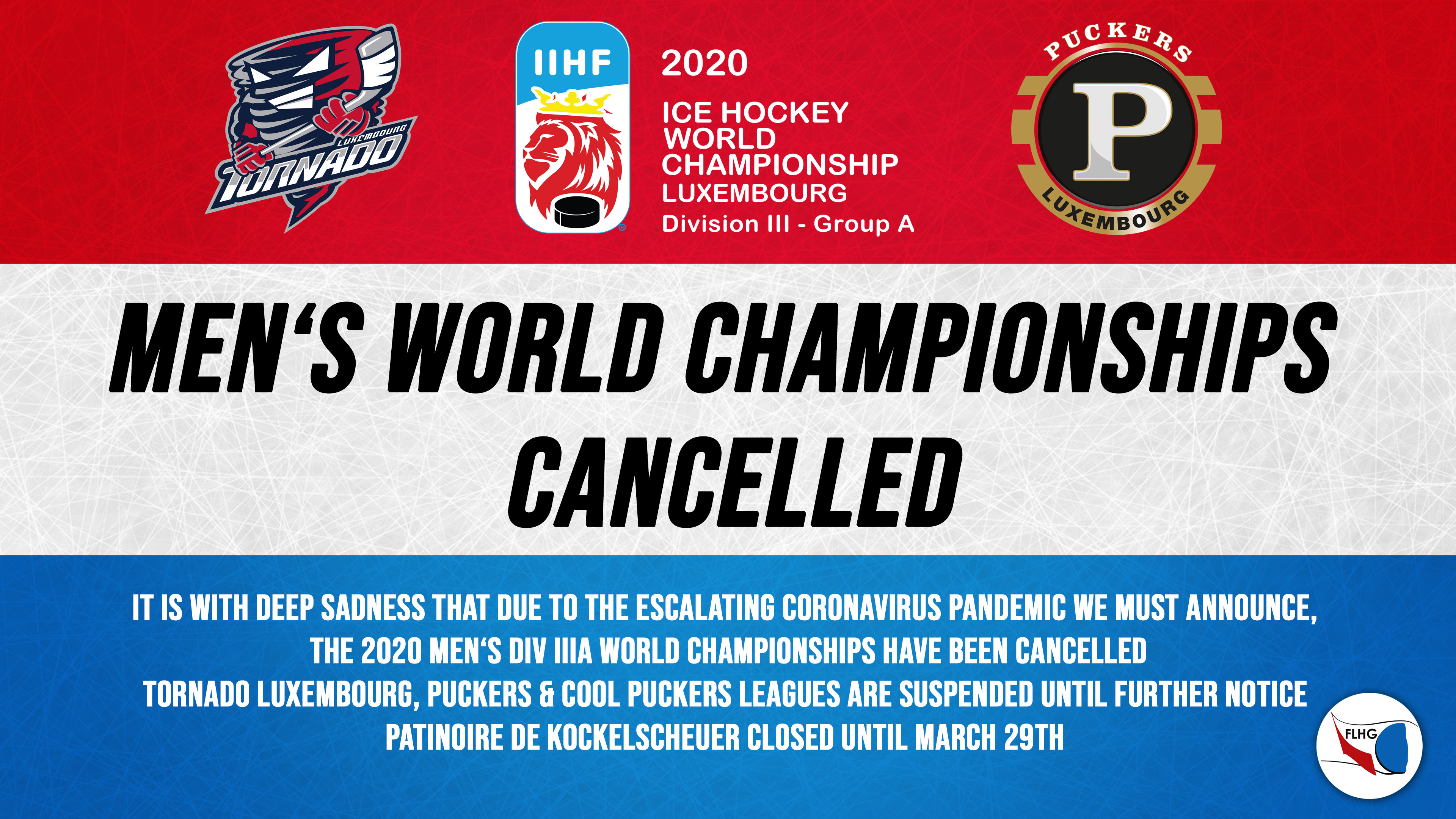 MEN's World Championships cancelled, French leagues suspended, Kockelscheuer closed