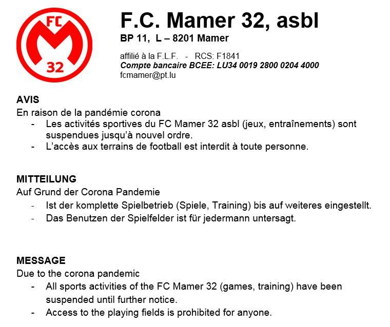 FC Mamer32 asbl: Spielbetrieb eingestellt