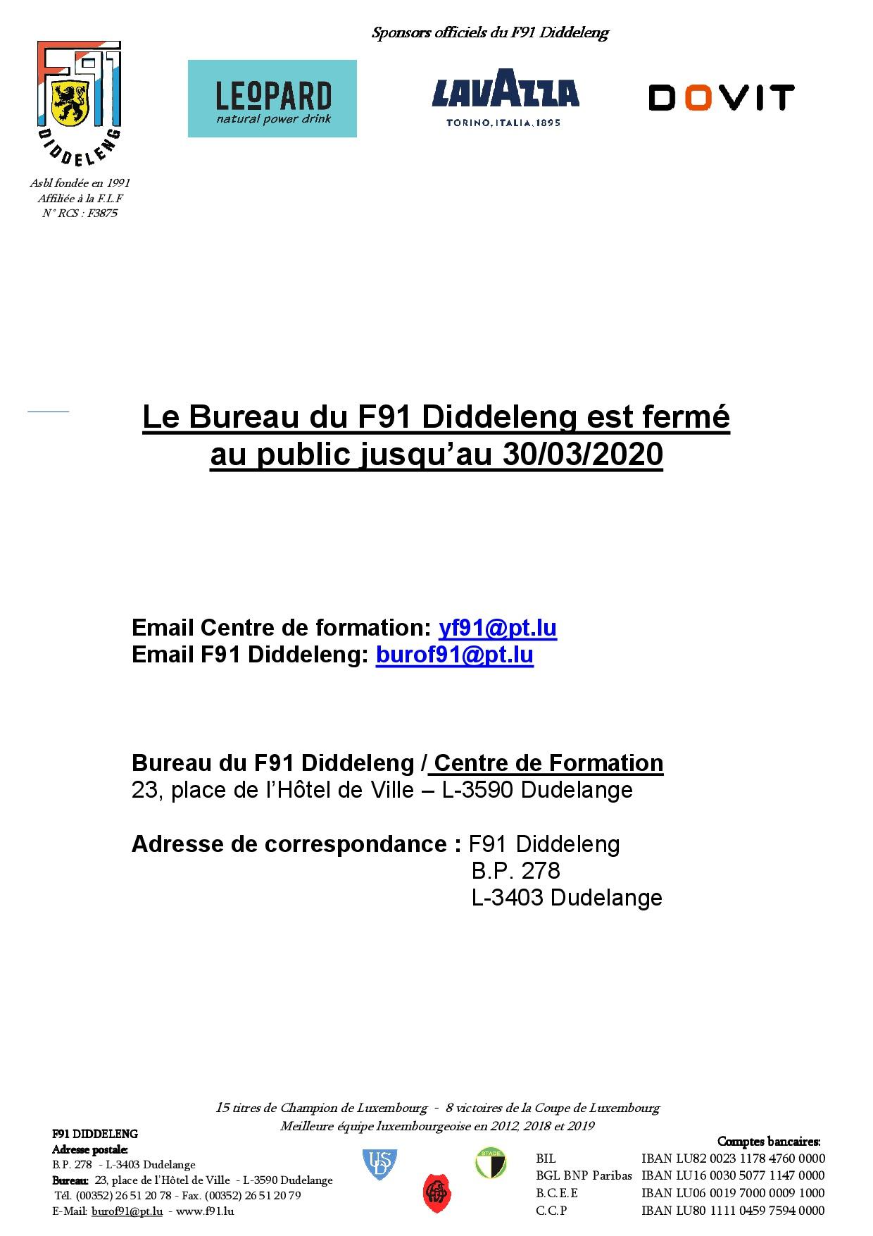 le bureau du F91 Diddeleng reste fermé