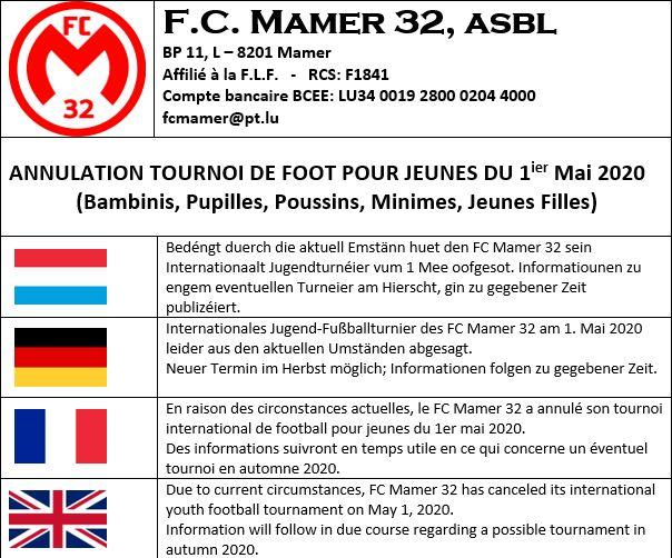 FC MAMER 32 asbl: ANNULATION TOURNOI DE FOOT POUR JEUNES DU 1ier Mai 2020