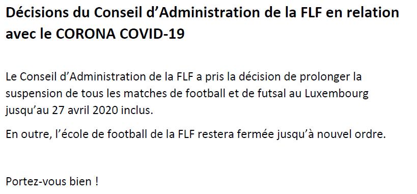 PLUS DE FOOTBALL JUSQUE FIN AVRIL... AU MOINS