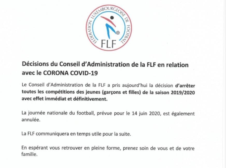 Décision FLF concernant les compétitions des jeunes