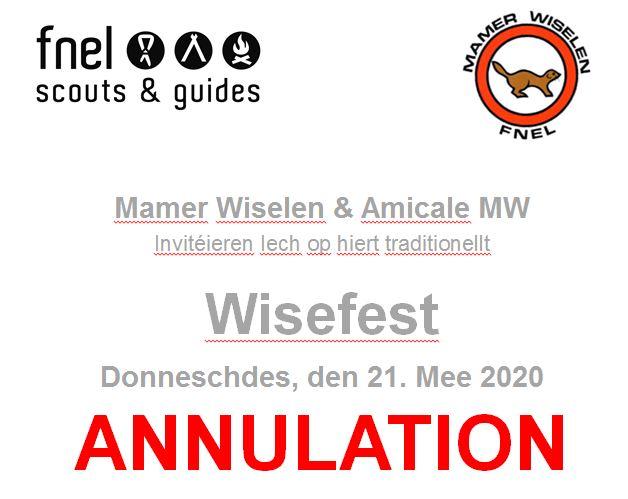 Mamer Wiselen & Amicale MW: Annulation Wisefest du 21 mai 2020