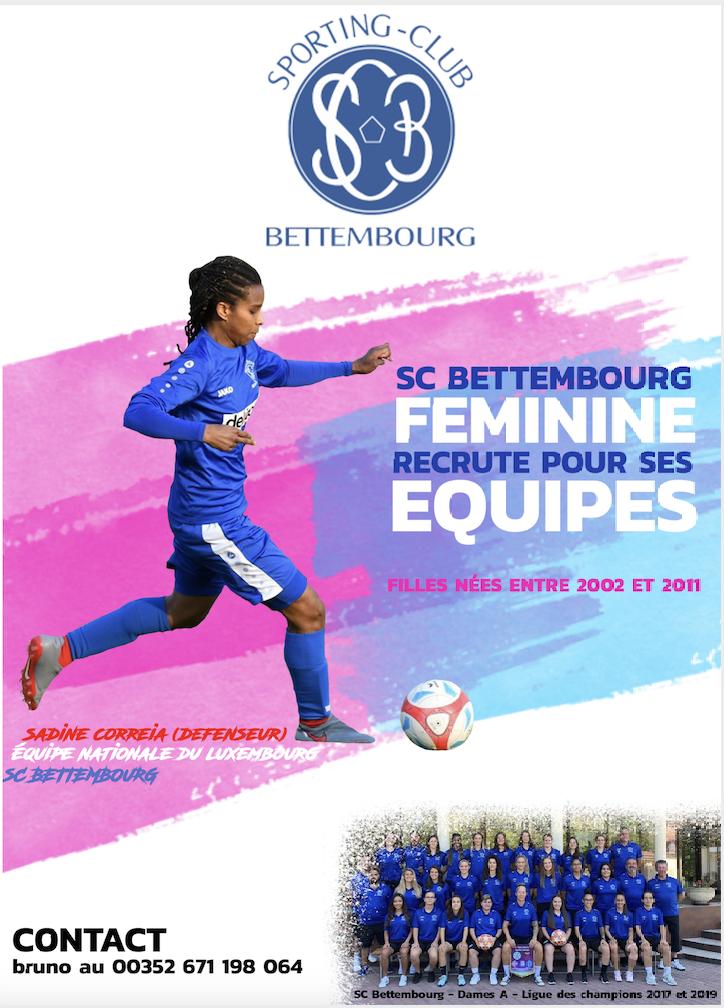SCBettembourg Féminine recrute pour ses équipes