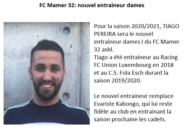FC Mamer 32:  saison 2020/2021  -  nouvel entraineur pour les dames I