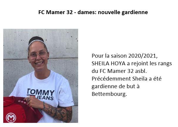 FC Mamer 32 - dames: nouvelle gardienne de but