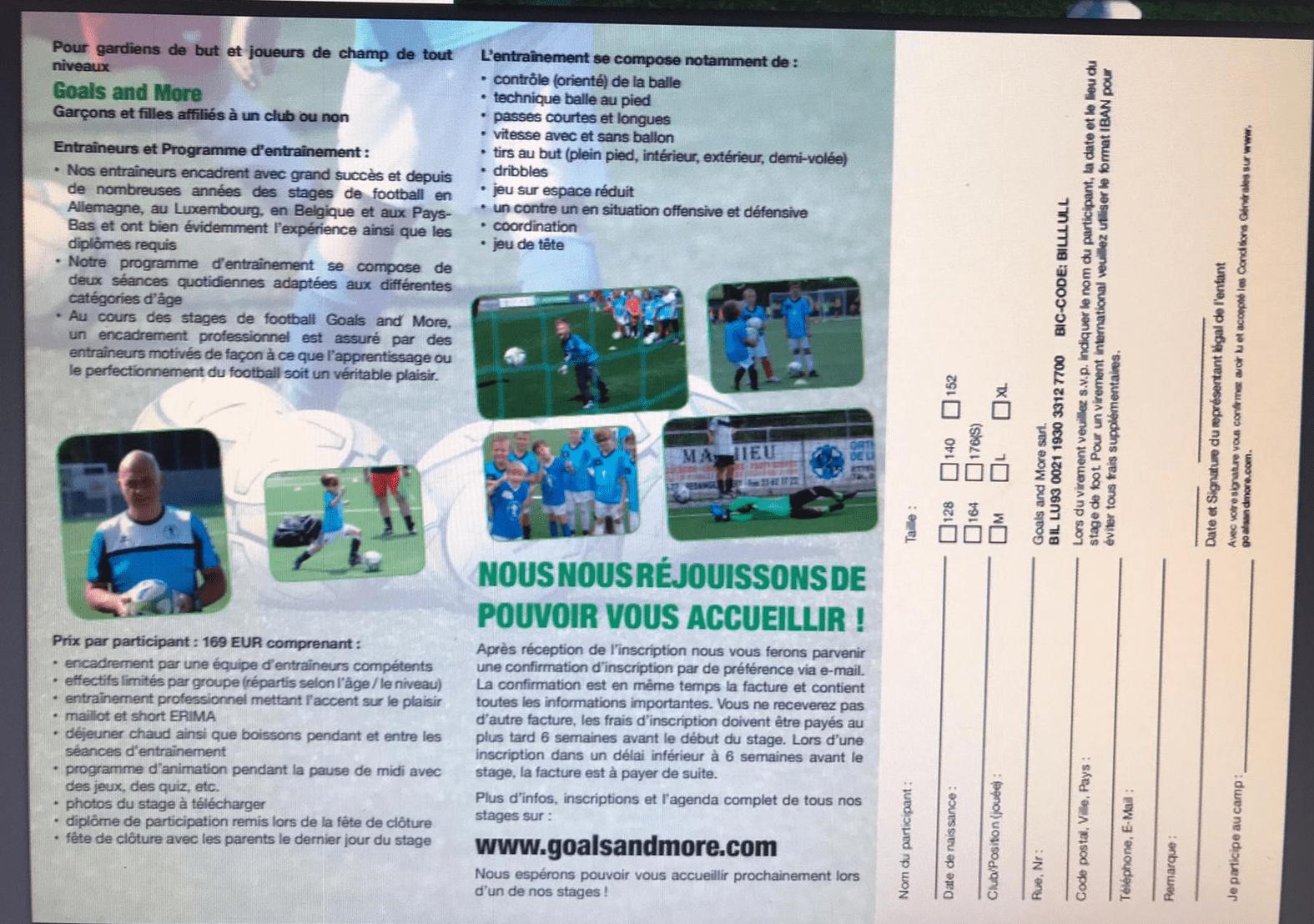 Goals and More Fußballcamp zu Reiler (20-24. Juli 2020)