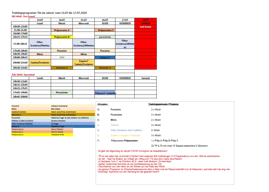 Trainingsprogramm 'Fin de saison'