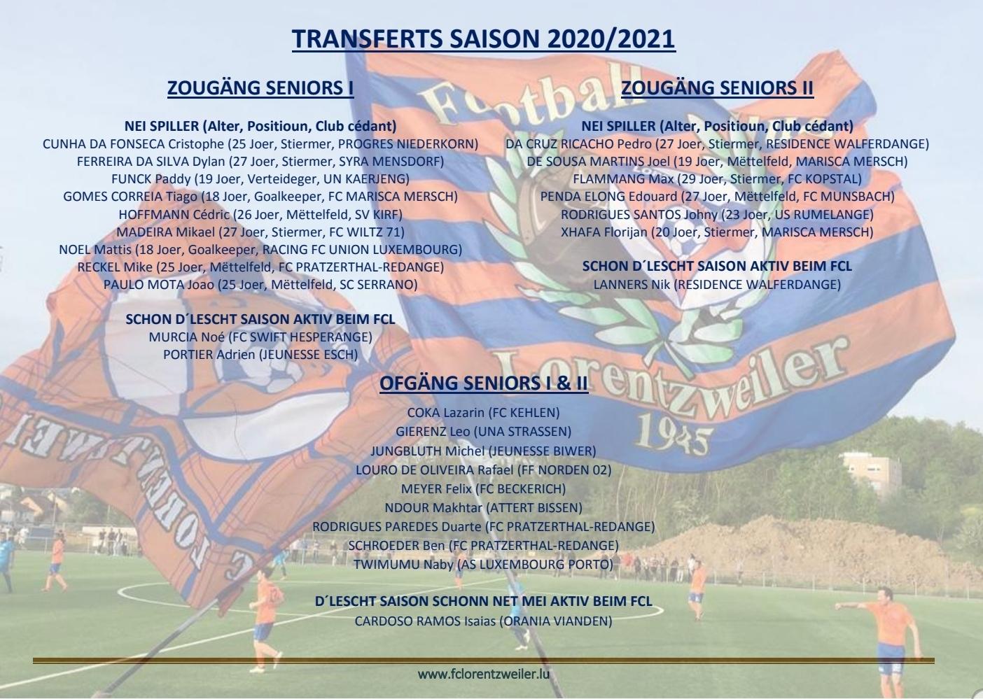 Transferts Seniors - Saison 2020/2021