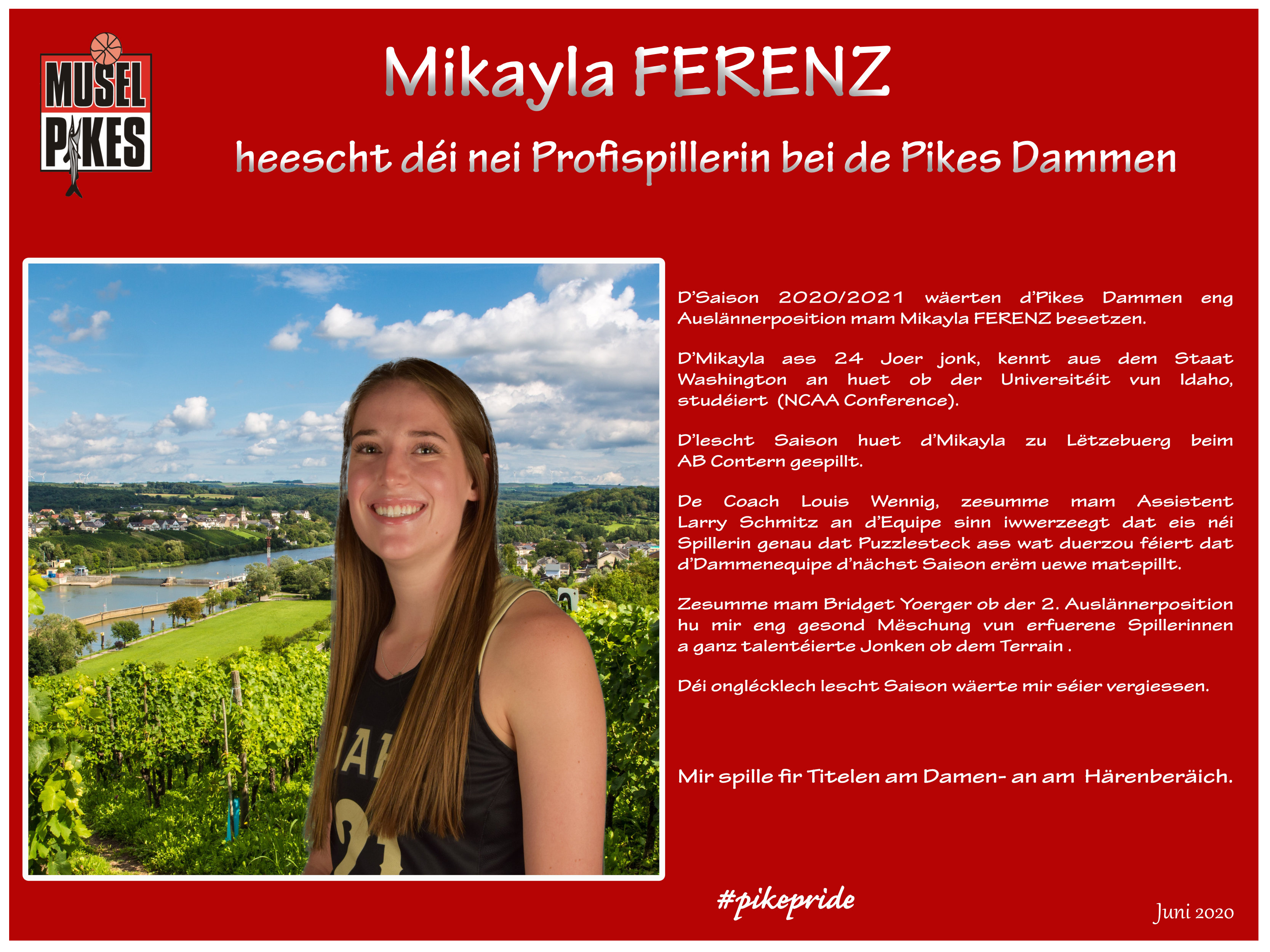 Welcome Mikayla FERENZ