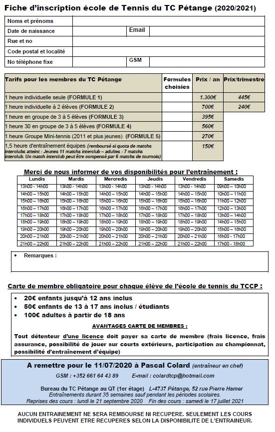 Inscription: Ecole de tennis 2020/2021
