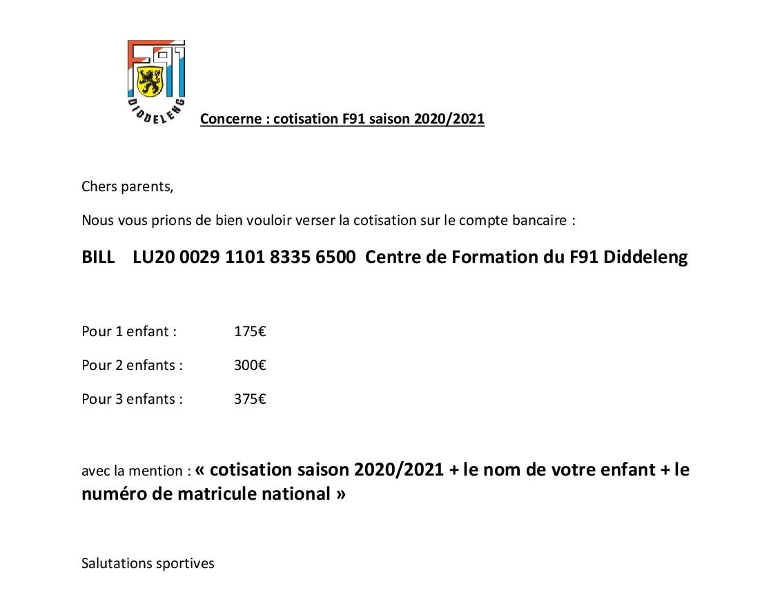 Centre de Formation - Cotisation saison 2020/2021