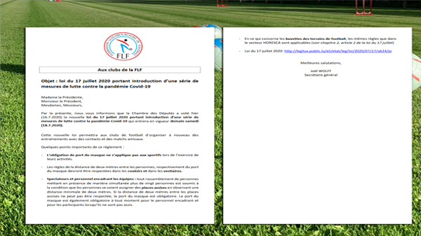 Objet: loi du 17 juillet 2020 portant introduction d'une série de mesures de lutte contre la pandémie Covid-19