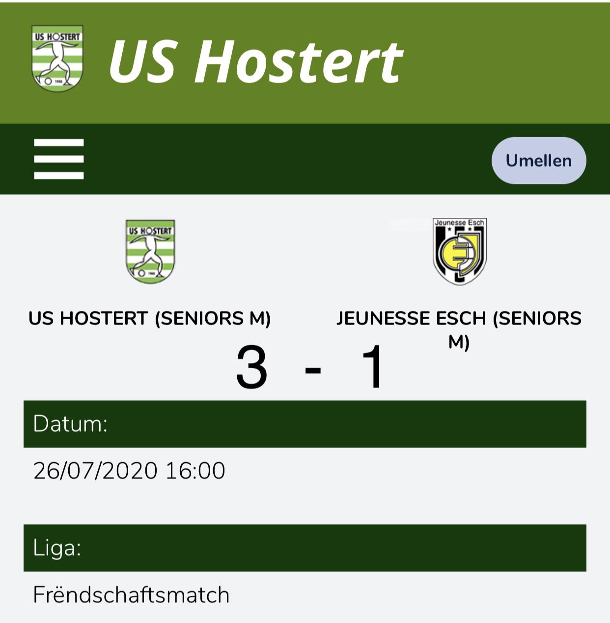 US HOSTERT - Jeunesse Esch  3-1