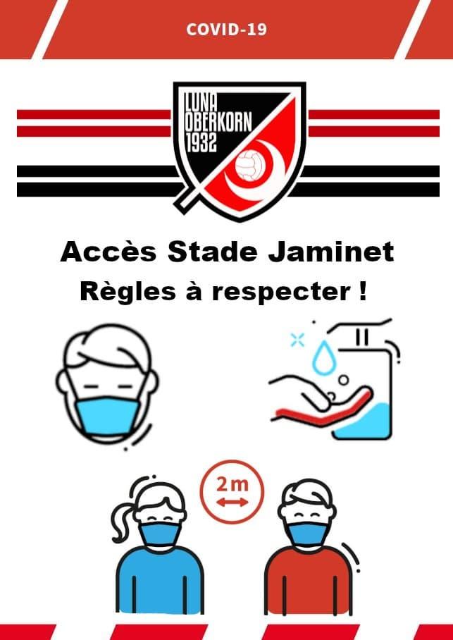règles COVID19 à respecter au Terrain Stade Jaminet F.C.LUNA Uewerkuer