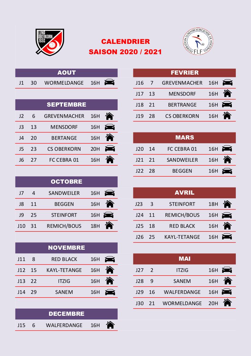 Calendrier de la saison 2020 / 2021 - Seniors Division 1 série 2
