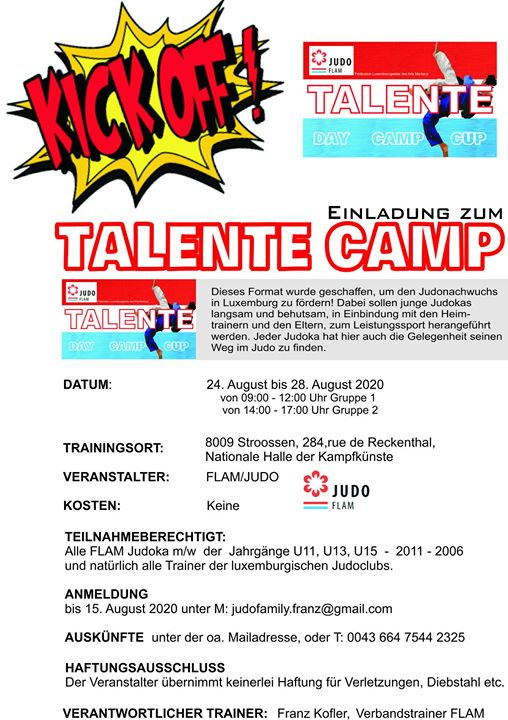 Judo-Talent-Camp 24.-28.08.2020 in Stroossen
