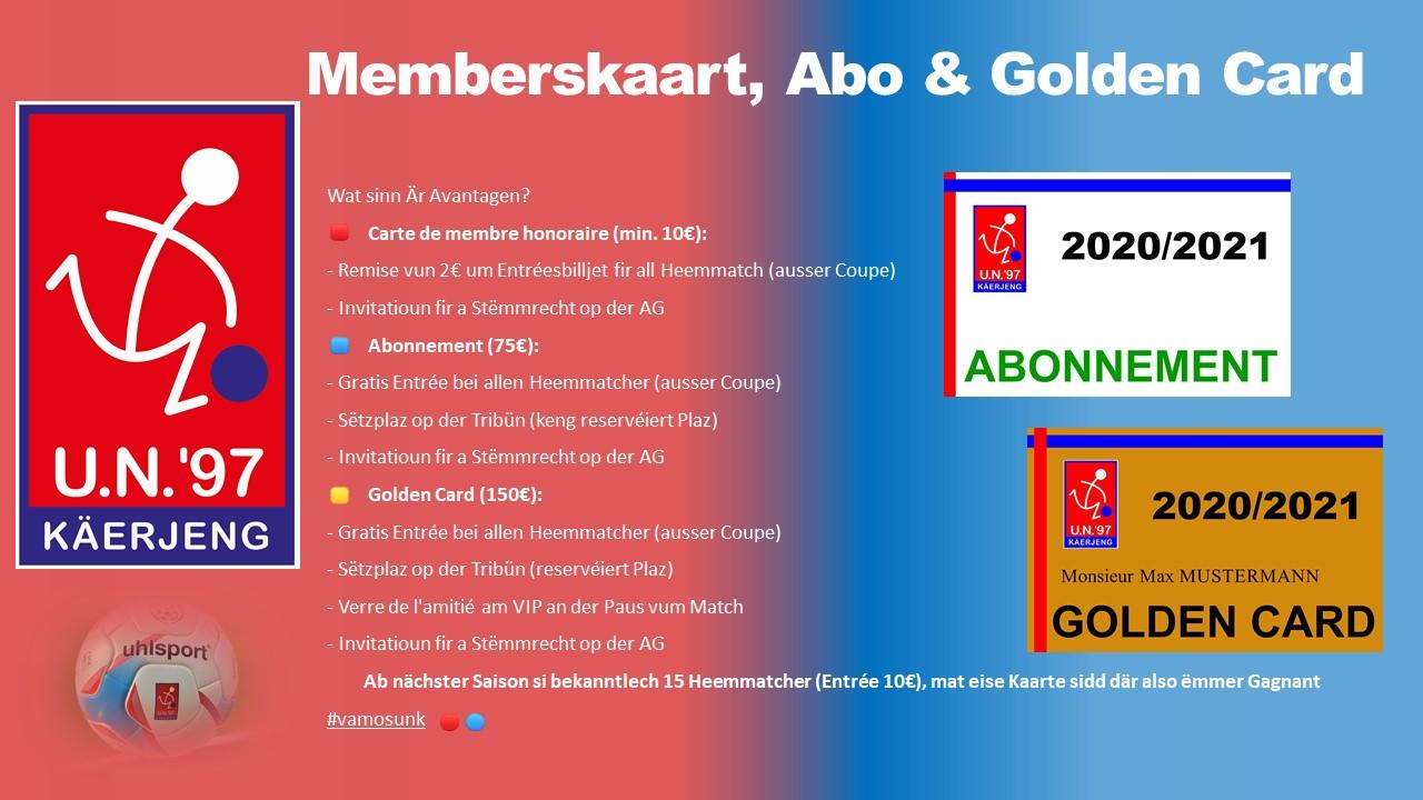 * Memberskaart, Abo & Golden Card *