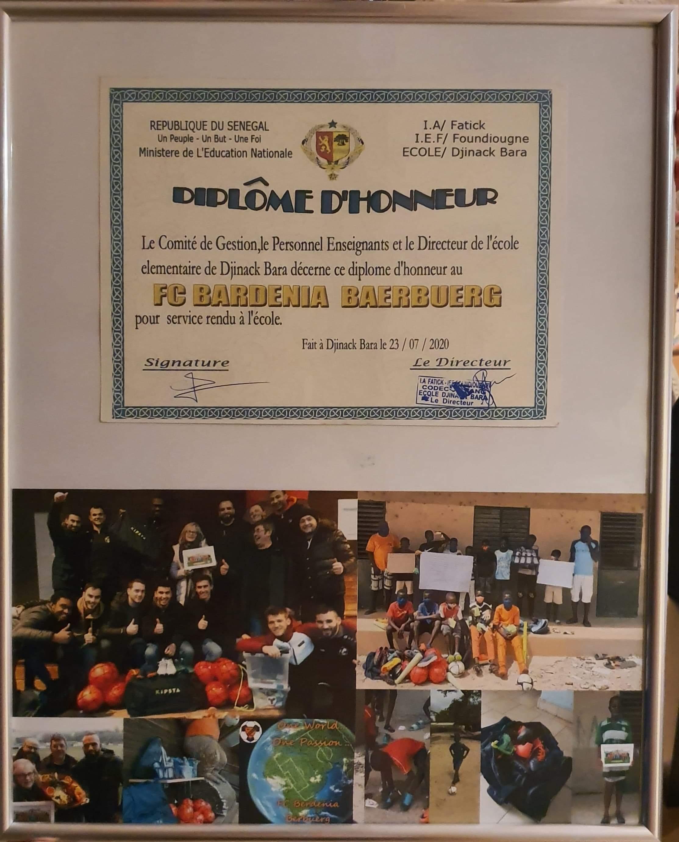 Éirendiplom fir den FC Berdenia