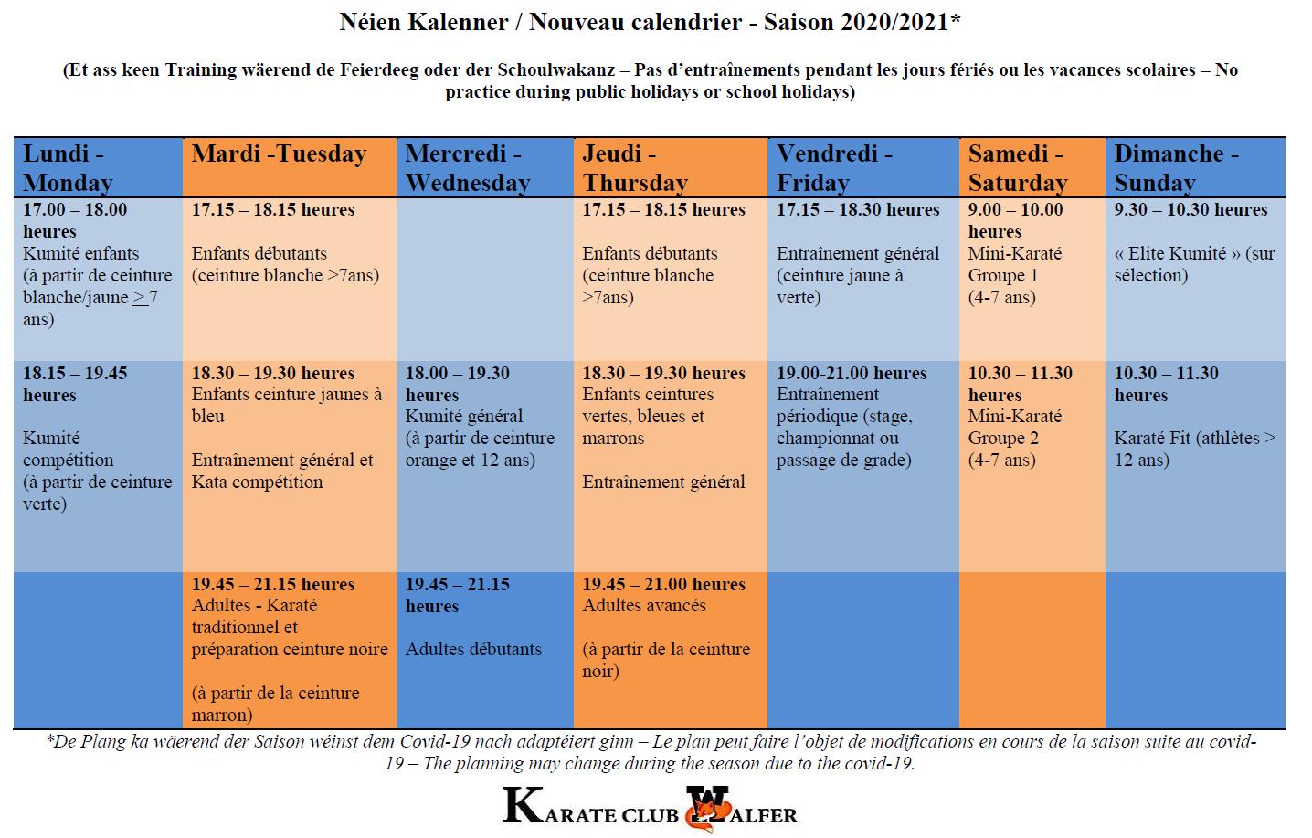 Néie Kalenner - nouveau calendrier - Saison 2020/21