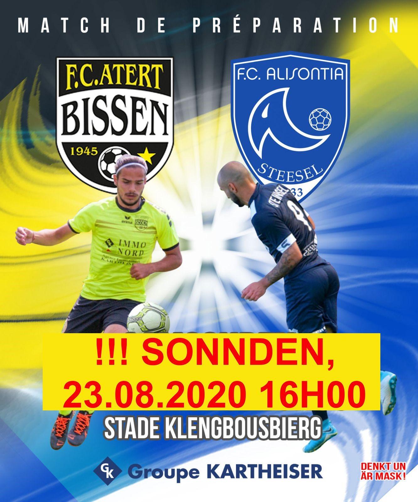 Den Mätch FC Atert Bissen - FC Alisontia Steinsel ass op e Sonnden 23 August 2020 um 16H00 verluecht ginn!!!!