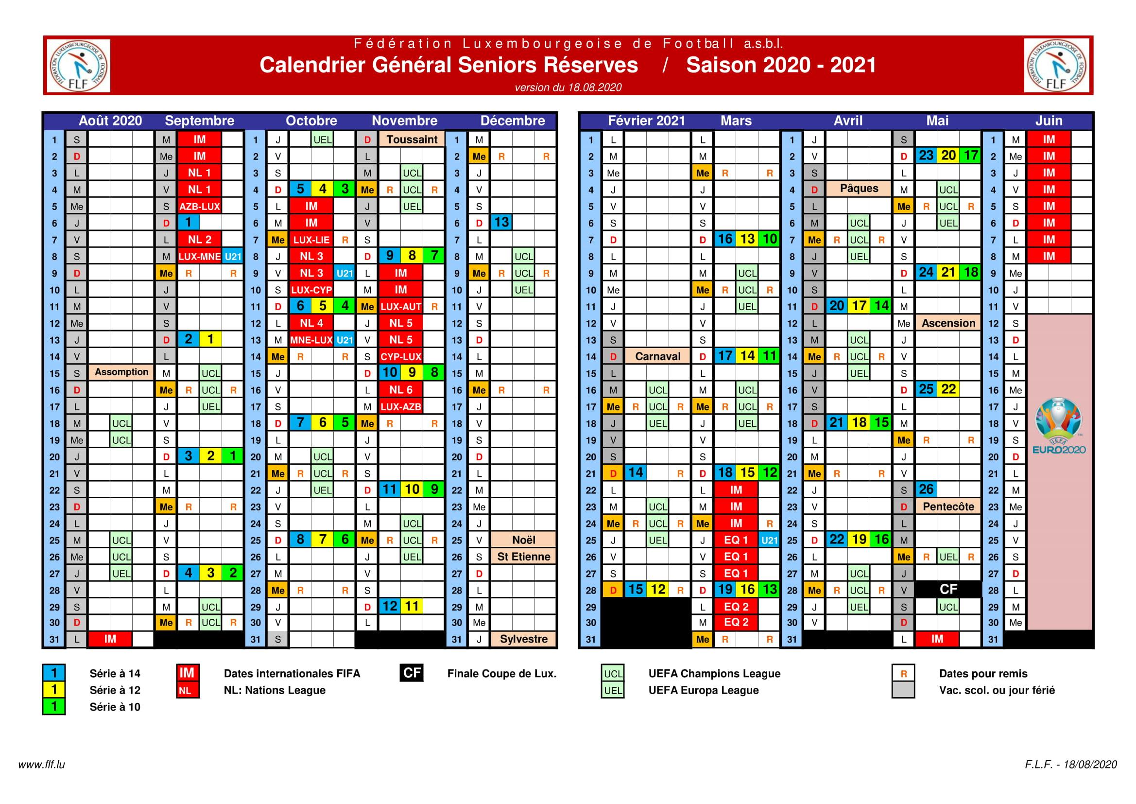 Calendrier Général Seniors Réserves