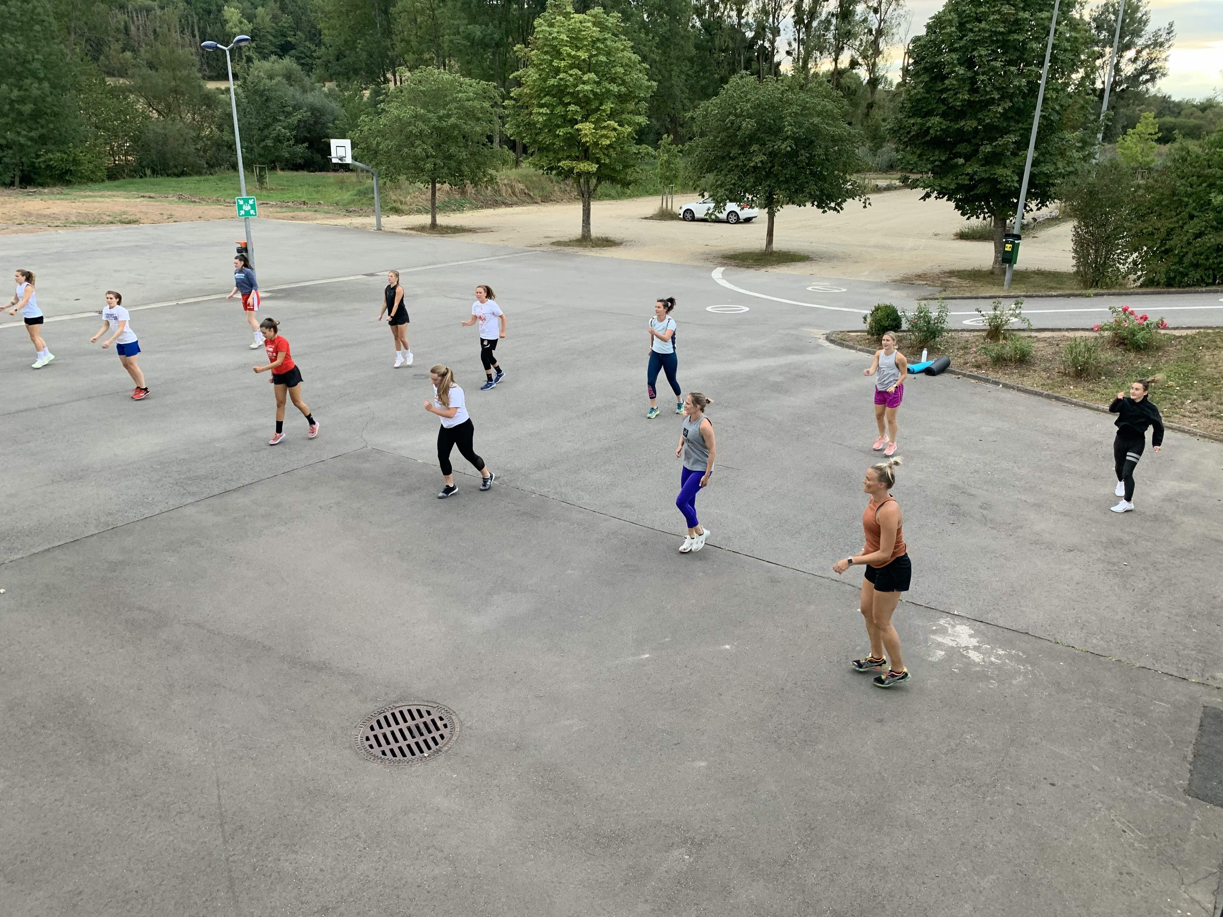 Pikes ladies outdoor practice (Tae bo)