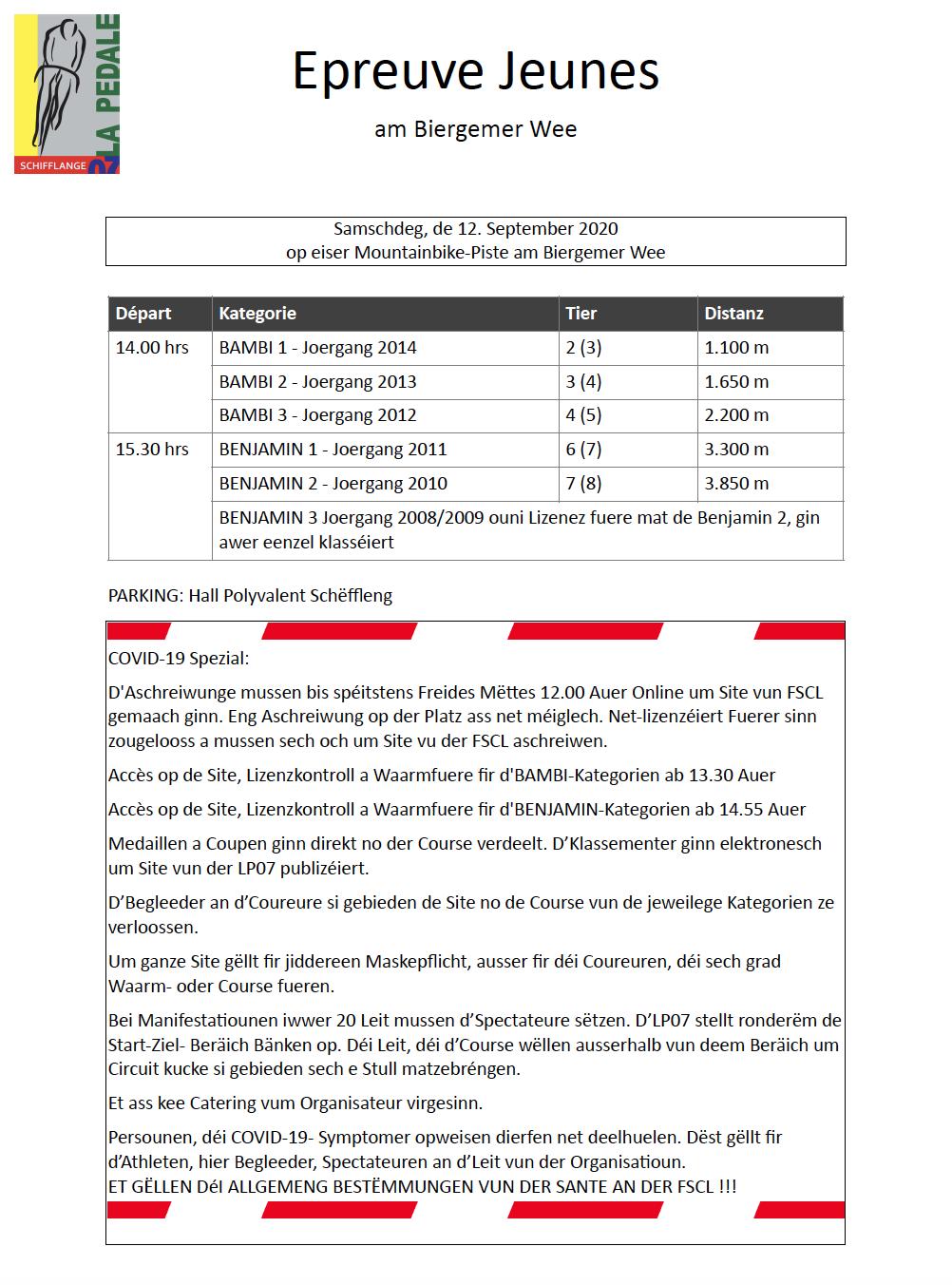 Epreuves Jeunes den 12. September