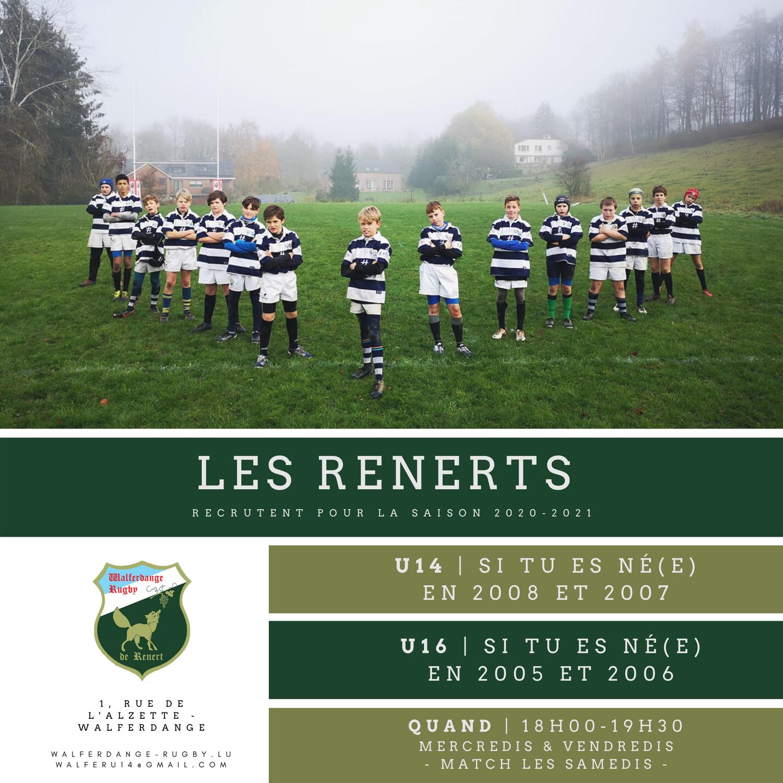 Les Renerts U14 et U16 recrutent