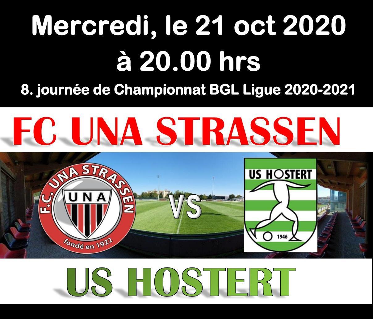 Match de championnat UNA - US HOSTERT le mercredi 21.10. à 20.00 hrs