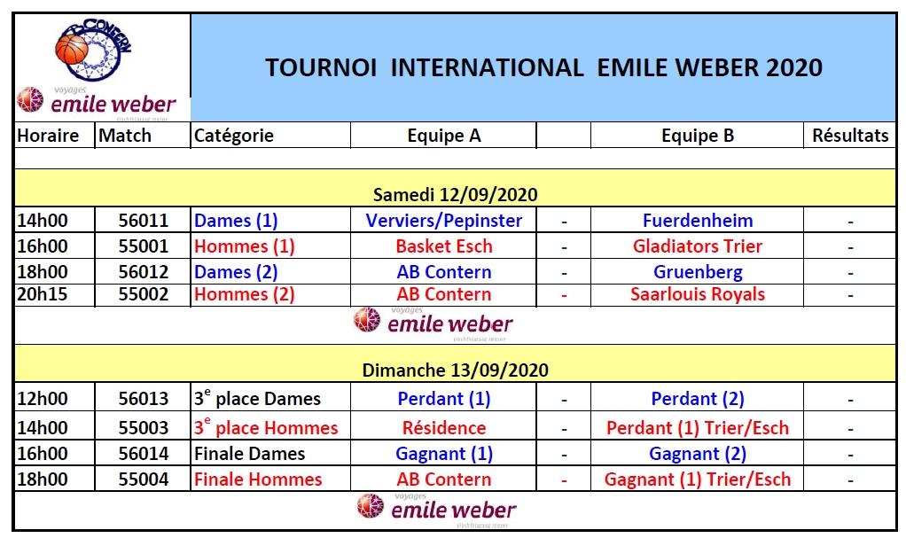 Tournoi  Emile Weber 12 & 13 September 2020 Um Ewent